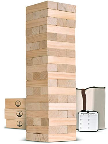GoSports Giant Wooden Toppling Tower (Stacks to 5+ feet) | Includes Bonus Rules with Gameboard | Made from Premium Pine Blocks -