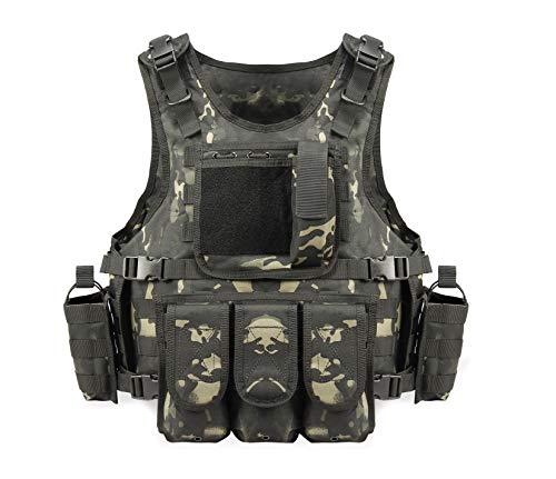 YAKEDA Gilet Tactique, Veste Porte Plaque Ajustable pour Armée, Police, Equipement d'Extérieur ou Veste Cosplay du Jeu… 1