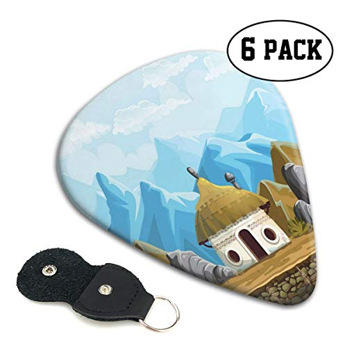 (Guitar Picks 6 pcs,Hut In The Mountains Asian Steppe Architecture With Cartoon Pattern)
