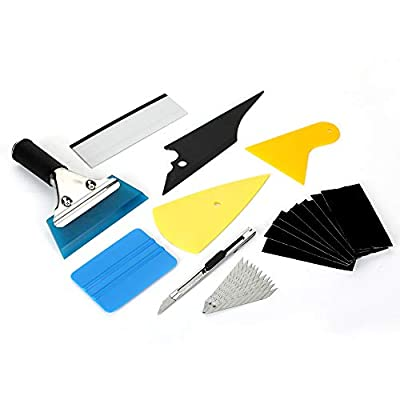 METERIO Car Window Wrapping Tint Film Installing Tools, 9 Pcs Complete Application Tools Set for professional and daily use, Vehicle Vinyl Wrap Tool Including Felt Squeegee, Film Scrapers, Film Cutter: Automotive