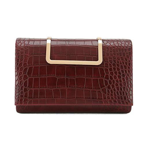 Charming Tailor Small Crocodile Handbag PU Cross Body Bag Croc Top Handle Satchel Women's Clutch Purse (Burgundy) ()