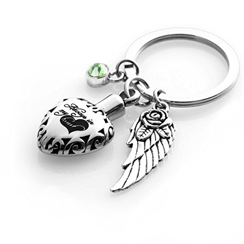 (Cremation Urn keychains Always in My Heart Memorial Pendant Keepsake Ash Locket Rose Key Ring Vintage Angel Wing Charm Jewelry)