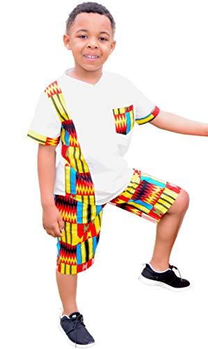 Shenbolen Boy African Print Kente Kids Ankara Suit African Ghana Tribal ()
