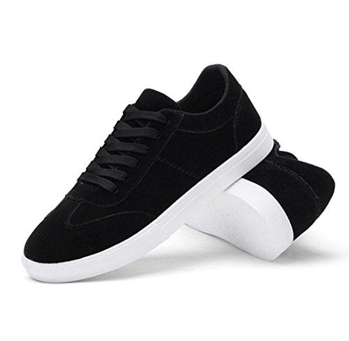 WZG zapatos casuales de los nuevos hombres de color sólido para ayudar a los zapatos de los deportes de los hombres con cordones plana baja del estudiante Black