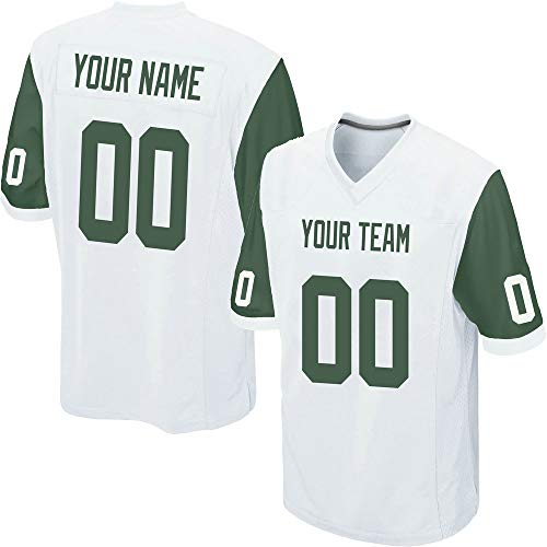 Custom Men's White Mesh Football Game Jersey Stitched Team Name and Your Numbers,Green-White Size 3XL