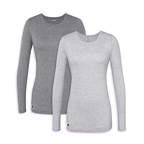 - Sivvan 2 Pack Women's Comfort Long Sleeve T-Shirt/Underscrub Tee - S85002 - Dark Marl Gray/Marl Gray - XXS