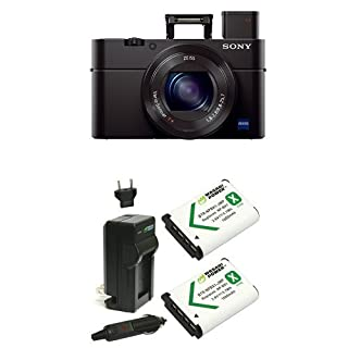"Sony Cyber-shot DSC-RX100 III Digital Still Camera with OLED Finder, Flip Screen, WiFi, and 1"" Sensor with Power Battery (2-Pack) and Charger (B07CT18JHQ) 