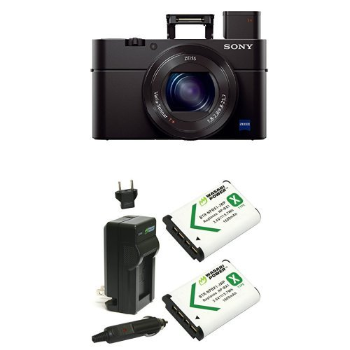 "Sony Cyber-shot DSC-RX100 III Digital Still Camera with OLED Finder, Flip Screen, WiFi, and 1"" Sensor with Power Battery (2-Pack) and Charger"