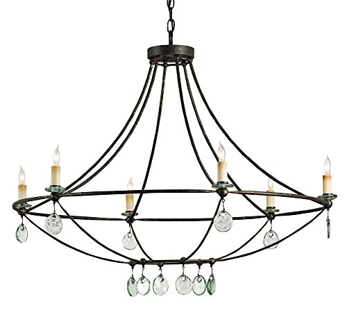 Currey Company 9921 Chandelier with Clear Glass Shades, Mayfair Finished