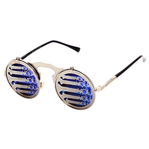 Femme Lunettes m¨¦tal ronde en hibote Shades Homme Sunglasses personnalit¨¦ Gothic Vintage Punk C18 Vous Clamshell Steam xTfqT0zHw