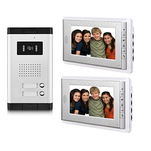 (AMOCAM 2 Household Apartment Video Intercom System,Video Door Phone Kit, 1 pcs Night Vision Camera, 2 pcs 7