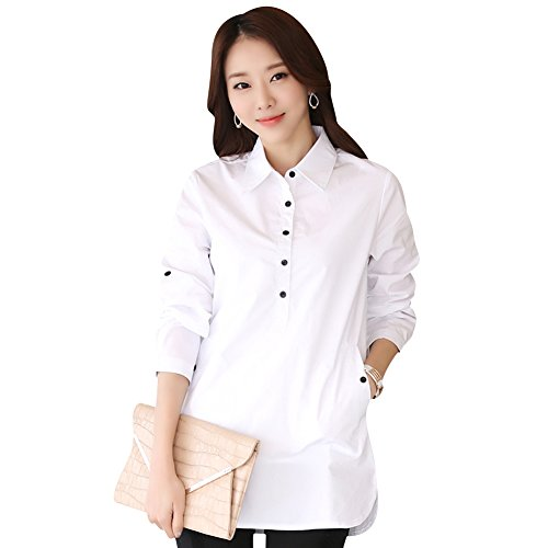 TLZC Women's Casual Turn-down Collar Roll-up Sleeve Buttons Cotton Polo Shirts US Size 6 White (White Collar Season Six compare prices)