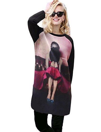 GSP-Damen Kleid - Übergrößen Übergröße / Retro Mini Polyester Rundhalsausschnitt