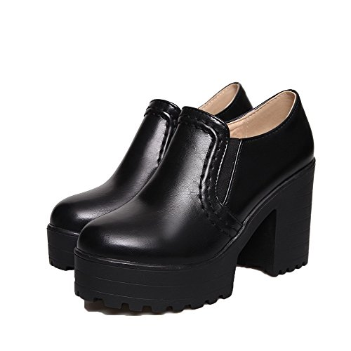 Odomolor Women's Pu High-Heels Closed-Toe Soild Pull-On Pumps-Shoes Black hAu0DhgaE