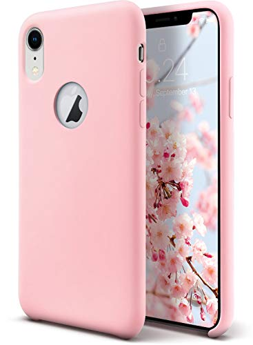 Coolwee Liquid Silicone Case for iPhone XR Shockproof Case Pink Gel Rubber Cover Women Girls 10r Soft Microfiber Cloth Cushion Slim Matte Case Compatible for Apple iPhone XR 6.1 inch 2018 Light Pink