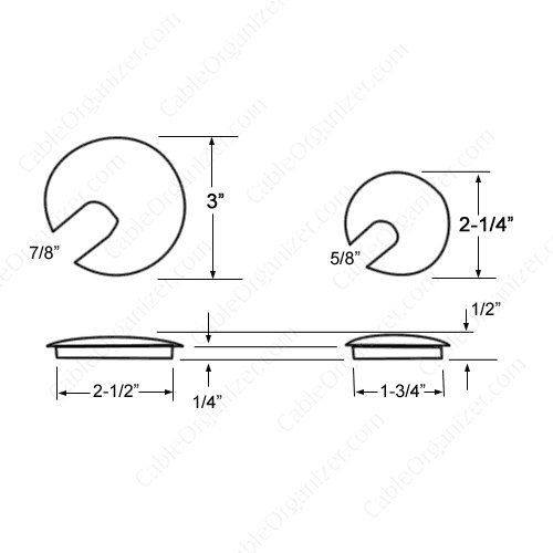 Slotted Hardwood Desk or Wood Furniture Grommets, Maple, 2.5'' Mounting Hole, 3'' Overall Diameter