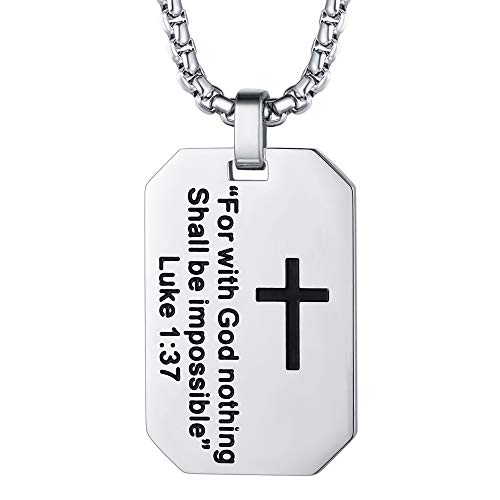 FaithHeart Luke 1:37 Bible Verse Dog Tag Pendant Necklace, Stainless Steel Plated Jewelry with 3MM Box Chain, Customize Available - Modern Dog Tag Pendant