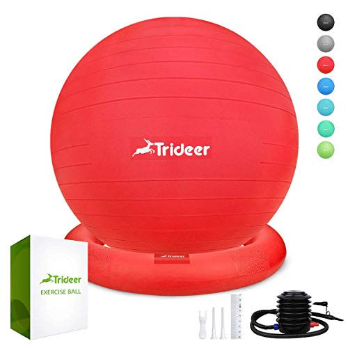 Trideer Ball Chair - Exercise Stability Yoga Ball with Base for Home and Office Desk, Ball Seat, Flexible Seating with Ring & Pump, Improves Balance, Back Pain, Core Strength & Posture£¨Ball with Ring ()