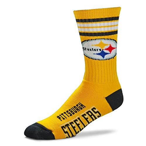 (For Bare Feet NFL Men's Reverse 4 Stripe Deuce Crew Socks (Pittsburgh Steelers, Large (10-13))    )