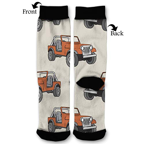 - Beige Rust Orange Off-road Vehicle Quarter Dress Mid Calf Knee Crew Socks Calf Knit Hosiery Female Ladies Women Girl Teen Kid Youth Themed Clothing Party Clothes Dresses Apparel Ankle