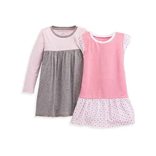 Burt's Bees Baby Baby Girl's Toddler Dress, Infant & Toddler, Short & Long-Sleeve, 100% Organic Cotton, Dotty Flowers 2-Pack, 5 Years