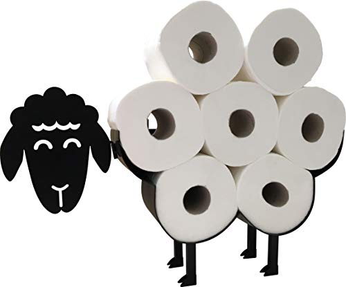 Cute Black Sheep Toilet Paper Roll Holder – Cool Novelty Free Standing or Wall Mounted Toilet Roll Tissue Paper Storage…