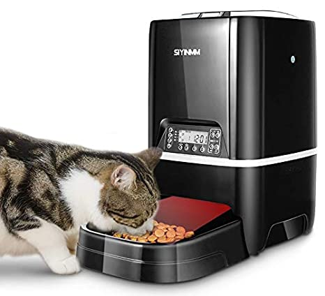 SIYINMM Automatic Cat Feeder Timed Auto Pet Feeder Food Dispenser for Cats and Dogs 6.5L Timer Programmable&Portion Control&Voice Recorder for Small ...