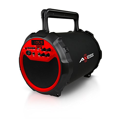 Axess SPBT1036RD Portable Indoor/Outdoor Bluetooth Hi-Fi Cylinder 2.1 Speaker with 6-Inch Subwoofer and 1 Wireless Mic ( Red ) best to buy