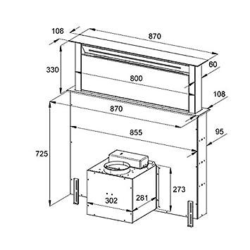 Campana extractora de humos, extractor de mesa (90 cm, acero ...