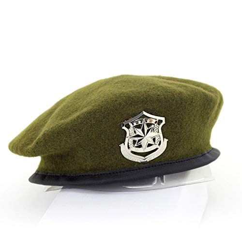 (Ilense New Metal Emblem Unisex Woolen Beret Military Hats Adjustable Costume Party Cosplay Perform Navy)