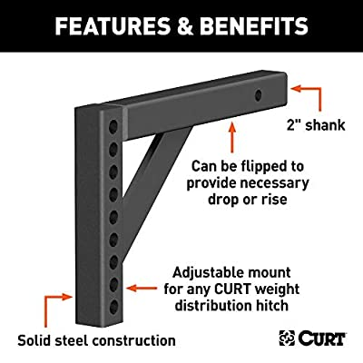CURT 17122 Weight Distribution Hitch Replacement Shank, Fits 2-Inch Receiver, 6-Inch Drop, 10-1/4-Inch Rise: Automotive