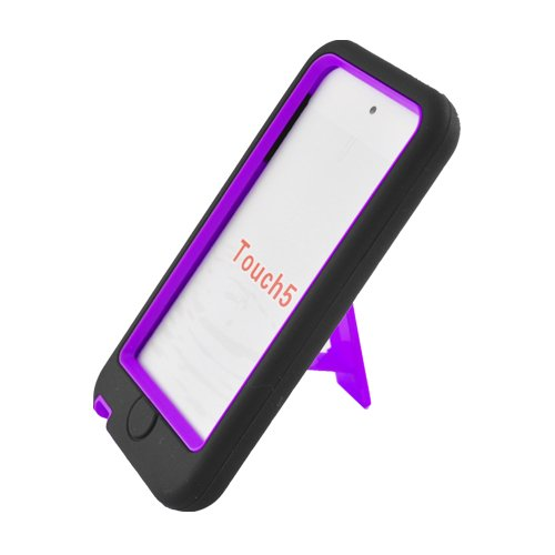 Black / Purple Hybrid Rugged Hard Silicone Case Cover w/ Stand for Apple iPod Touch 5th Generation 5G 5 (Ipod Touch 5 Case Generic)