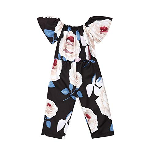 Toddler Baby Girl Floral Romper Jumpsuit Shoulder Ruffle Overalls Long Pants Romper