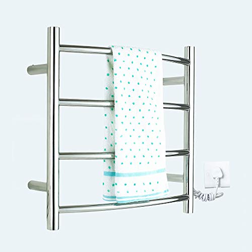ZJINHUI Wall-Mounted Curved Heated Towel Warmer,Bathroom Electric Heated Towel Rack, 40W Stainless Steel Hot Towel Rack with 4 Heated Bars, Polished Mirror,450600125mm ()