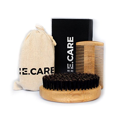 IE.CARE Beard Brush & Comb Set | 100% Boar Bristle Wooden Brush + Handmade Scented Fine & Coarse Tooth Sandalwood Beard Comb + Muslin Style Cotton Gift Bag Set