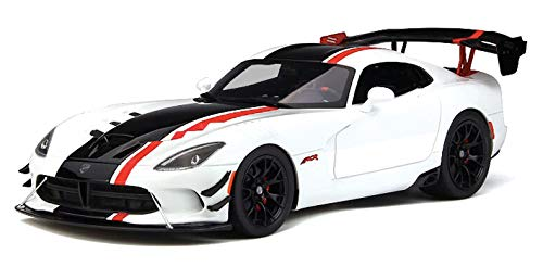 Stripes Limited Edition - 2016 Dodge Viper ACR Viper White with Black and Red Stripes Limited Edition to 999 Pieces Worldwide 1/18 Model Car by GT Spirit GT181
