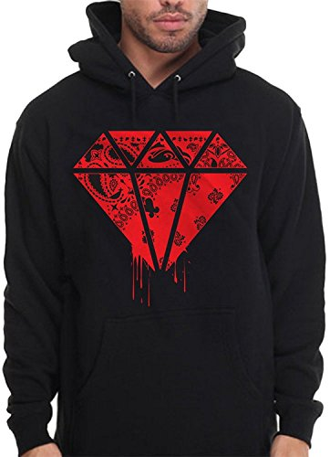 Diamond Shape Bandana Hoodie Pullover Sweatshirt Red Rag Print Drip Blood money (Extra Large)