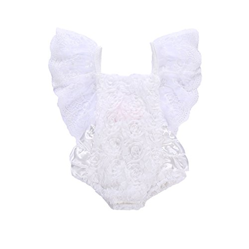 CAIBIET Baby Girl Clothes Infant Girl Lace Bodysuit Newborn Pure White Pretty Floral Princess Party Dress Romper (Pure White, 70(0-6 Months))