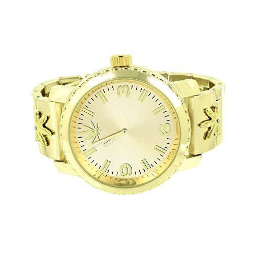 Marijuana Weed Dial Watch Gold Finish Unique Look Stylish On Sale Jojo Jojino ()