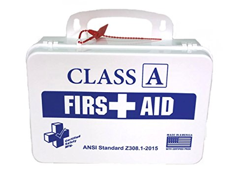Certified Safety K615-011 16PW Class A First Aid Kit, ANSI Z308.1-2015, Plastic Case, White