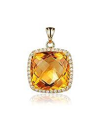 Fashion Gemstone Citrine Cushion Cut Natural Diamonds Pendant Solid 14K Yellow Gold Engagement Wedding Sets Pendant