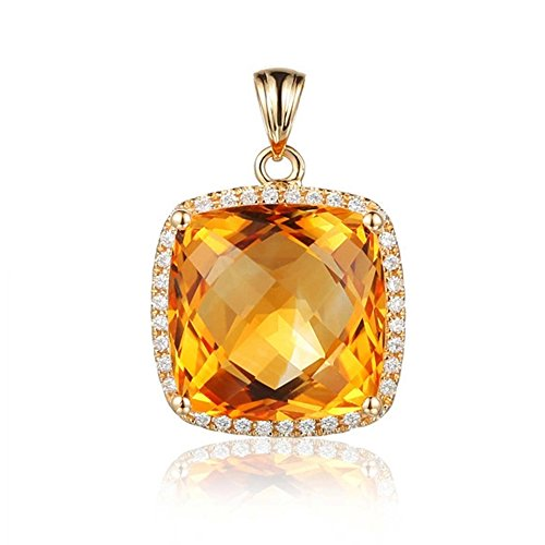 Fashion Gemstone Citrine Cushion Cut Natural Diamonds Pendant Solid 14K Yellow Gold Engagement Wedding Sets Pendant by Kardy