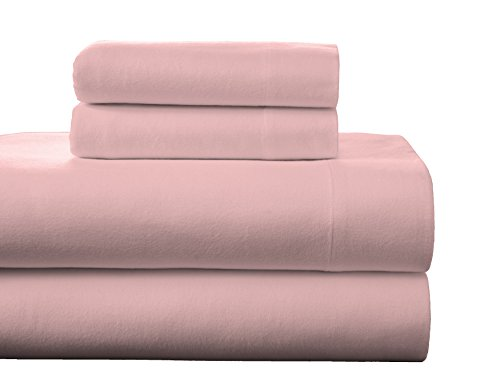 Sheets Pink Flannel (Pointehaven Flannel Deep Pocket Sheet Set with Oversized Flat Sheet, Queen, Rose Quartz)