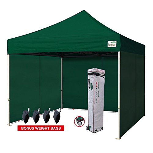 Eurmax 10'x10' Ez Pop-up Canopy Tent Commercial Instant Tent with 4 Removable Zipper End Side Walls and Roller Bag, Bonus 4 SandBags (Forest Green)