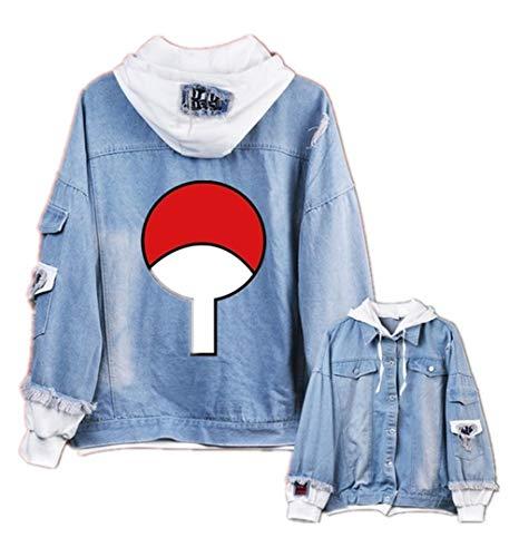GO2COSY Anime Naruto Cosplay Uchiha Sasuke Jacket Sweatshirt Denim Fleeces Costume Hoodie (Sasuke Hoodie Jacket)