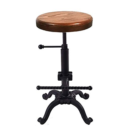 VINTAGELIVING Industrial Swivel Bar Stool Counter Coffee Kitchen Dining Chair Backless Footrest Extra Height Adjustable ()