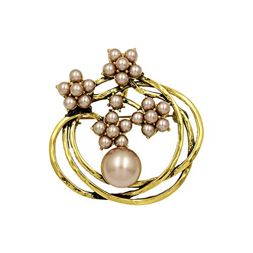 DARLING HER Simulated Pearl Flower Circle Double Used Pendant Or Brooch Pins for Women