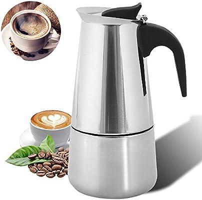 Stovetop - Cafetera de acero inoxidable, para café expreso, cafetera moka, para placa de inducción, de estilo clásico, con filtro y asa resistente al calor, para oficina, hogar, 300 ml, 6 tazas: