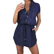 Kanyankeji Dress,Women's Short-Sleeves Belted Flared Above Knee Denim Shirt Dress Bandage Dress with Pocket