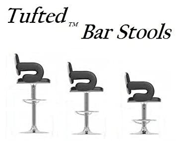 South Mission Tufted Adjustable Swivel Bar Stool with Armrests, Black Leatherette, Set of 2